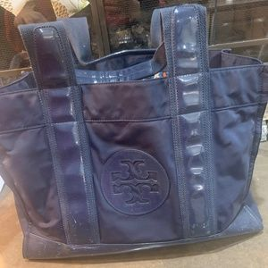 Navy Blue Tory Burch Nylon Tote